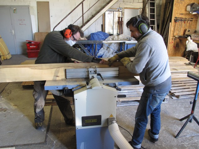 Christian & Remy working on the Frake wooden wall elements